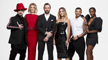 Boy George, Delta Goodrem (left) and Guy Sebastian and Kelly Rowland (right) are all returning as coaches on The Voice.