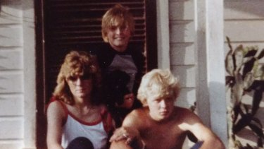 Jerry Lashuay, then 14, with mother Carol and younger brother Dan during a visit to his father's home in Texas.