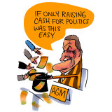 Making it rain: Jeff Kennett heads the Hawthorn Football Club AGM