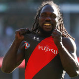 Bomber livewire Anthony McDonald-Tipungwuti is all smiles following one of his four goals.