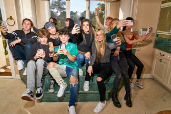 Part of the collective at Hype House: Back row, from left, Calvin Goldby, Chase Hudson, Avani Gregg, Ryland Storms, Wyatt Xavier, Dixie D'Amelio, Patrick Huston, Daisy Keech and Charli D'Amelio and front row, from left, Nick Austin, Tony Lopez and Addison Rae.