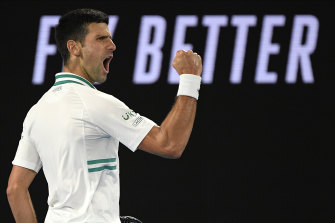 Novak Djokovic during last month's Australian Open final.