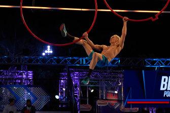 Perth's Ben Polson in action on Australian Ninja Warrior.