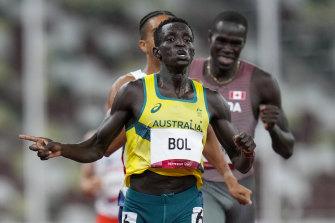 Peter Bol wins the men's 800-metre semi-final on Sunday.