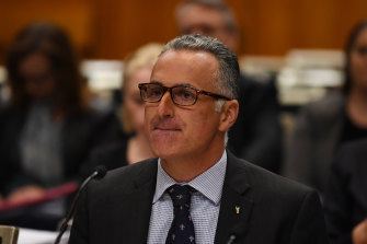 Sports Minister John Sidoti pictured at a budget estimates hearing on Thursday where he was grilled for two hours over his property investments.