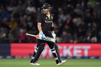 Aaron Finch leaves the field after being dismissed cheaply by Tim Southee in Australia's loss to New Zealand during game one of their T20 series at Hagley Oval in Christchurch.