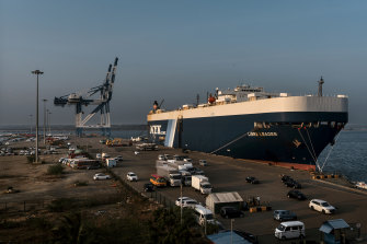 The Hambantota Port, which the Sri Lankan government handed over to China when it couldn't repay its debt, in Hambantota, Sri Lanka.