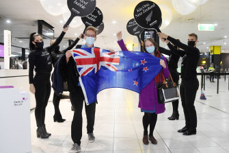 Jack Drummond and Abigail McKinstry were on one of the first flights out of Melbourne to New Zealand on Monday morning.