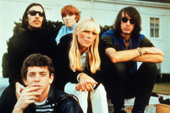Nico (centre) with fellow Velvet Underground members, Lou Reed (front), John Cale,  Maureen Tucker and Sterling Morrison.