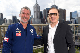 Victory coach Marco Kurz (left) and Melbourne City coach Erick Mombaerts on Friday.