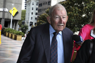 Sir Ron Brierley leaves the Downing Centre on Monday.