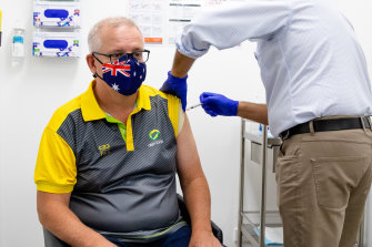 Prime Minister Scott Morrison receives his second Pfizer vaccination at Castle Hill Medical Centre in March.