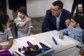 Morning meeting: Premier Daniel Andrews with Docklands Primary School students.
