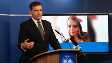 Homicide Squad Detective Inspector Andrew Stamper at the media conference on Sunday.