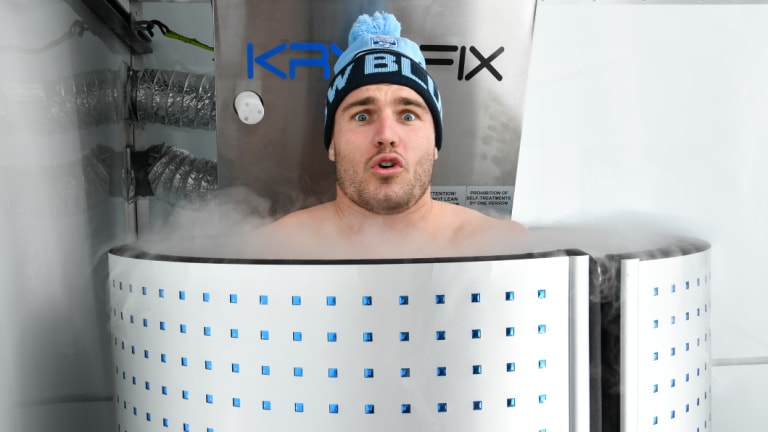 Deep freeze: Angus Crichton enjoys use of Kryofix's mobile cryotherapy chamber, thanks to a deal with the company giving the Blues exclusive rights.