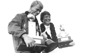 Winners Midget Farrelly and Phyllis O'Donnell with their trophies.