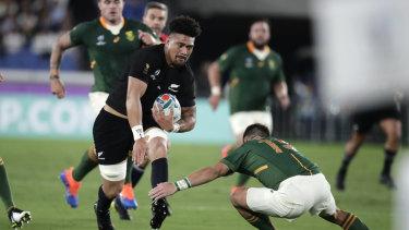 Dynamic: Ardie Savea's running lines caused South Africa trouble in Yokohama.