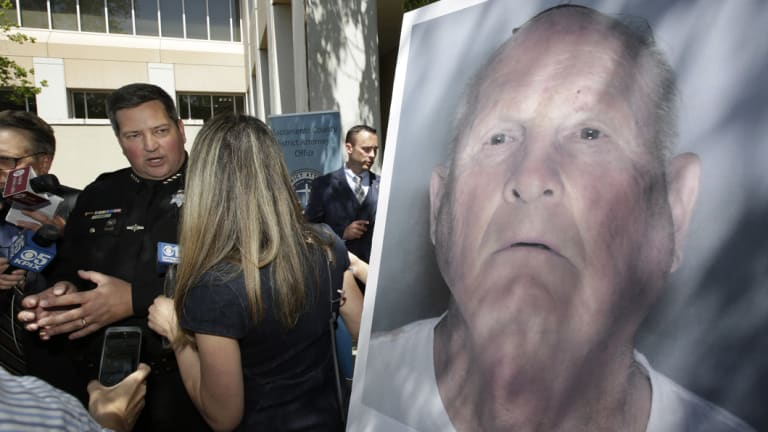 Sacramento County Sheriff Scott Jones, left, talks to reporters about the arrest of Joseph James DeAngelo, seen in a photo, on suspicion of committing a string of violent crimes in the 1970s and 1980s.