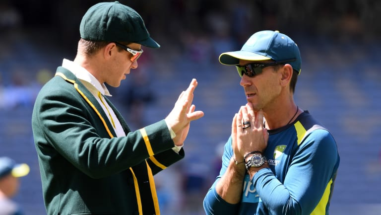 Brains trust: Tim Paine and coach Justin Langer.