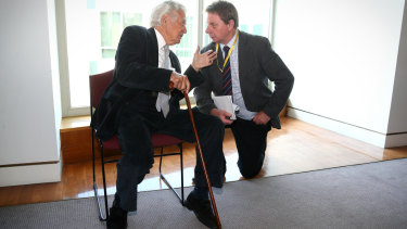 Former prime minister Bob Hawke talks with Tony Wright during a book launch at Parliament House in 2016.