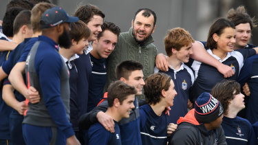 Schooled: Cheika announced an unchanged Australia line up at Melbourne Grammar School on Thursday.