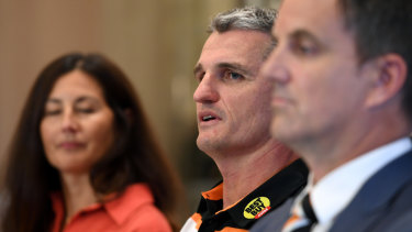 Getting off the bus? West Tigers chair Marina Go with Ivan Cleary.