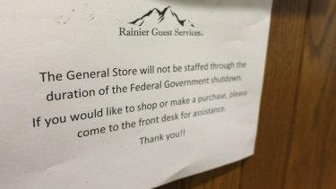A sign at the National Park Inn at Longmire at Mount Rainier National Park in Washington.