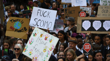 A few of the signs held during student climate strikes directly targeted Prime Minister Scott Morrison.