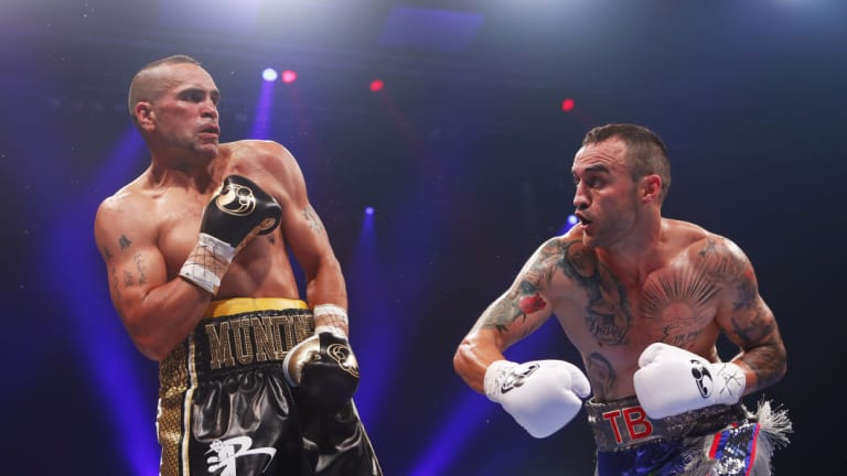 Catch me if you can: Anthony Mundine fights Tommy Browne in 2018.