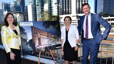 Premier Annastacia Palaszczuk (left), Deputy Premier Jackie Trad (centre) and Transport Minister Mark Bailey (right) announced the companies who will build the Cross River Rail project on Thursday above Roma Street Transit Centre.