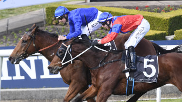 Too close for comfort: Invincible Gem runs Alizee to a half-neck on the line in the Missile Stakes.