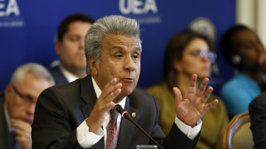 Ecuador's President Lenin Moreno addresses the Permanent Council of the Organisation of American States last week.