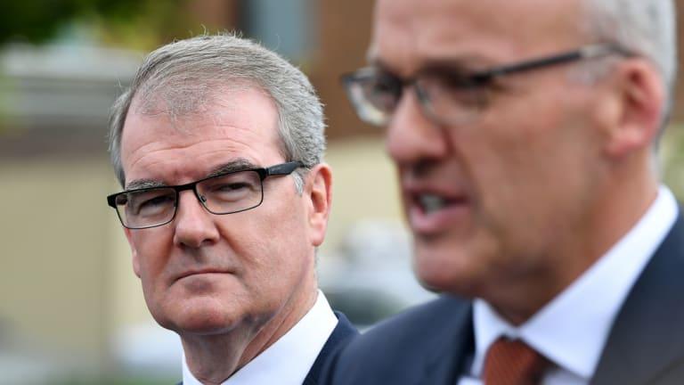 Michael Daley (left) and NSW former opposition leader Luke Foley.