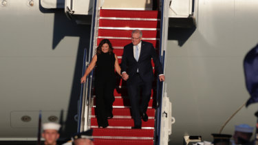 'Second century of mateship': PM touches down for high-stakes meeting with Trump