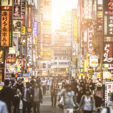 Marshall's mind also turns to Japan and the hectic rush of Tokyo.