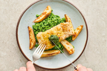 Jamie Oliver's recipe for Cheat's fish and chips.