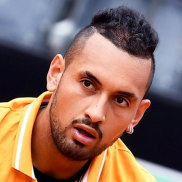 epa07569558 Nick Kyrgios of Australia in action against Daniil Medvedev of Russia during their men's singles first round match at the Italian Open tennis tournament in Rome, Italy, 14 May 2019.  EPA/ETTORE FERRARI Nick Kyrgios of Australia in action against Daniil Medvedev of Russia during their men's singles first round match at the Italian Open tennis tournament in Rome, Italy, 14 May 2019. EPA/ETTORE FERRARI Byline:ETTORE FERRARI Credit:EPA