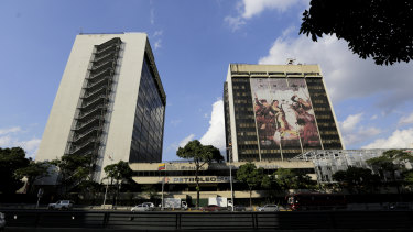 The headquarters of the state-owned oil company Petroleos de Venezuela, PDVSA, in Caracas.
