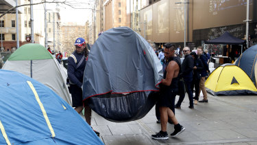 People move tents at Tent City in Martin Place on August 2017.
