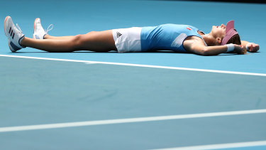 Mladenovic celebrates her win.