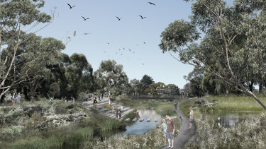 An artist's impression of Moonee Ponds Creek as it could be.