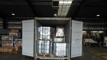 Seized drums of 1,4-Butanediol, sold as a party drug.
