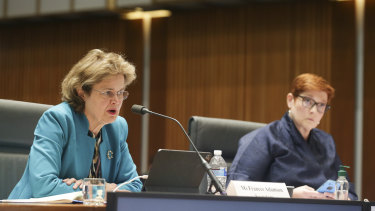 DFAT Secretary Frances Adamson, left, and Foreign Minister Marise Payne told Senate estimates Australia had made intensive diplomatic representations to Qatar.