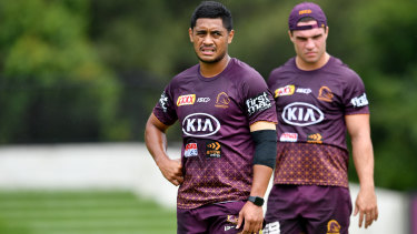 Anthony Milford and Brodie Croft of the Brisbane Broncos.