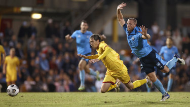 Craig Goodwin is fouled by Rhyan Grant late in the match.