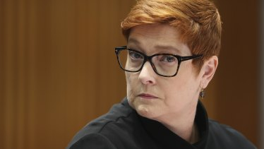 Marise Payne at a Senate estimates hearing on Monday.