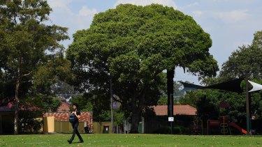 A man walks across the open space in Hammond Park in Ashfield, Sydney.