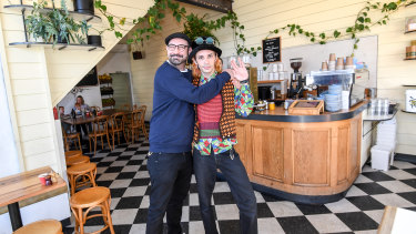 Jackson Davie (left), the owner of cafe Mavis the Grocer, with one of his employees, Marc Dean.