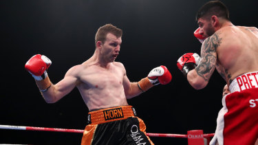 Shaping up: Jeff Horn opens his guard during an exchange against Victorian fighter Michael Zerafa.