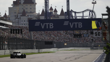 Home straight: Mercedes' Formula One championship leader Lewis Hamilton during the Russian Grand Prix at the Sochi Autodrom.